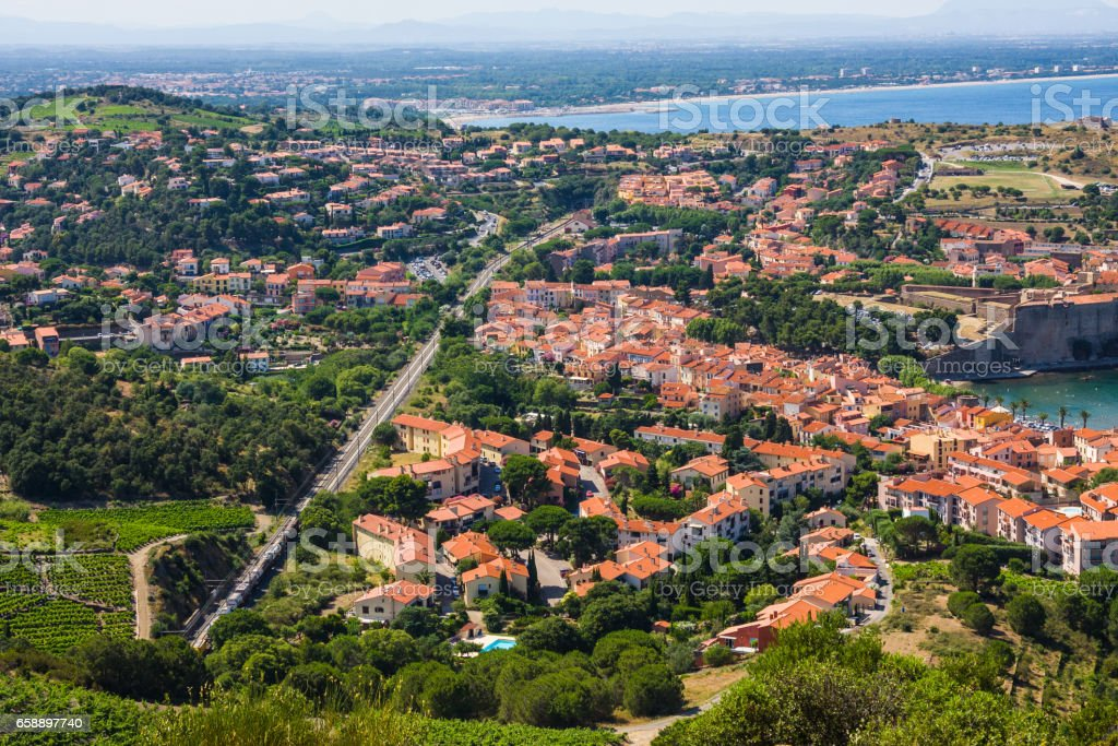 View Of Collioure, Languedoc-Roussillon, France, french catalan coast stock photo