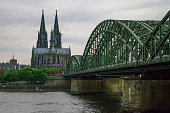 View of  Cologne cathedral from side of Hohenzollern Bridge,