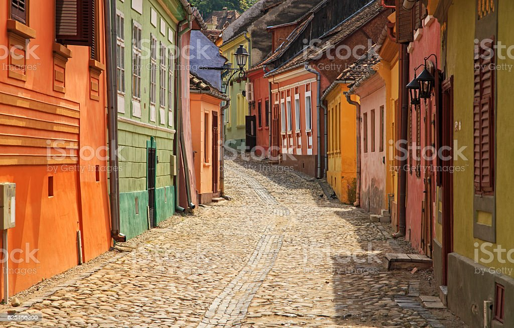 View of colorful houses on Sighisoara street stock photo