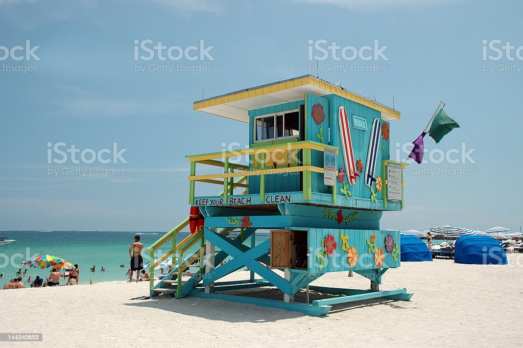 View of Colorful Lifeguard Tower in South Beach royalty-free stock photo