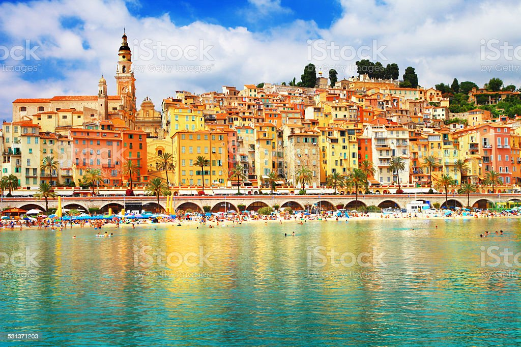 View of colorful Menton stock photo