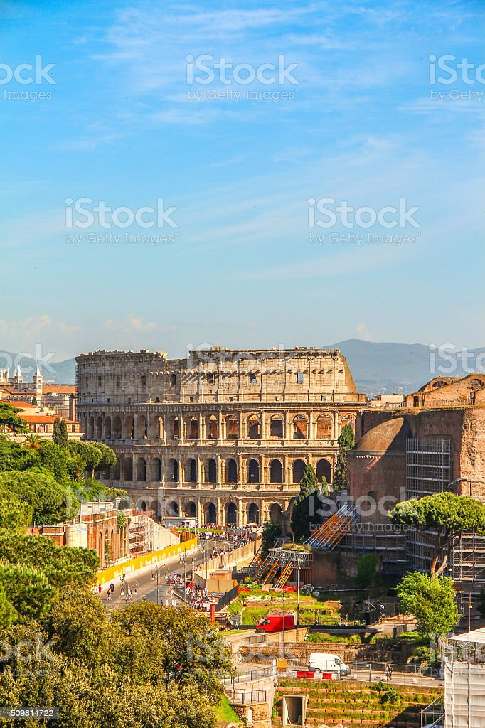 View of Colosseum in distance, Rome stock photo