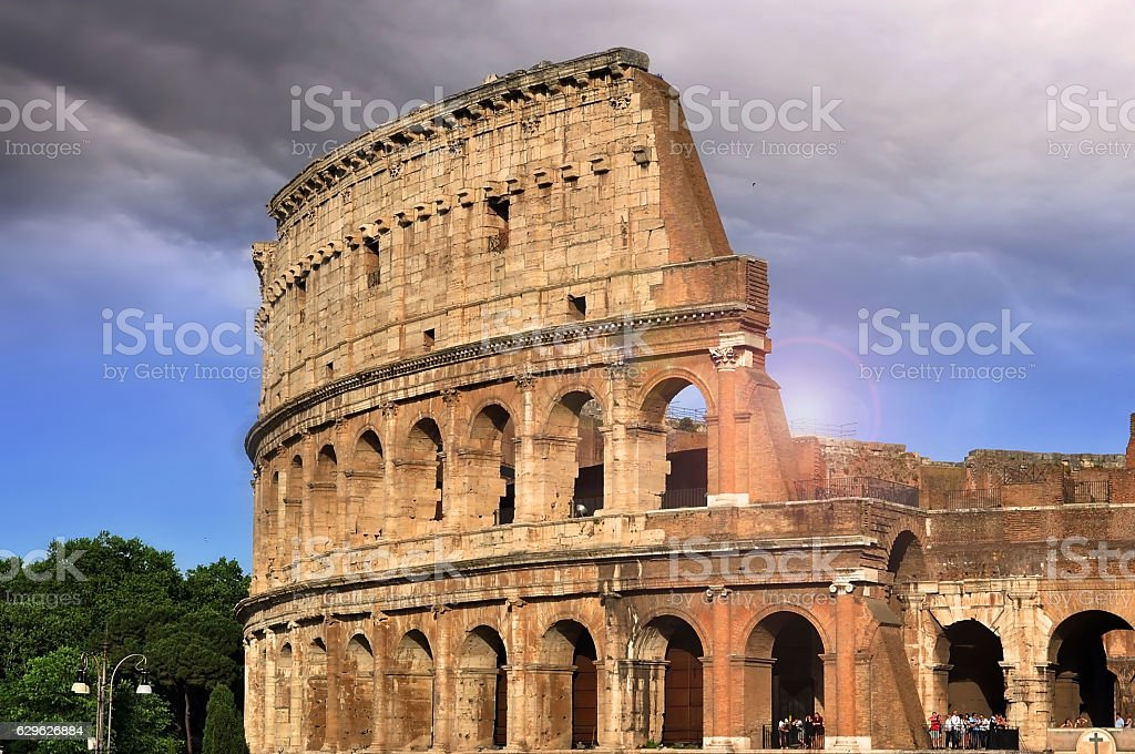 View of Colosseum in Rome during the evening sunset stock photo