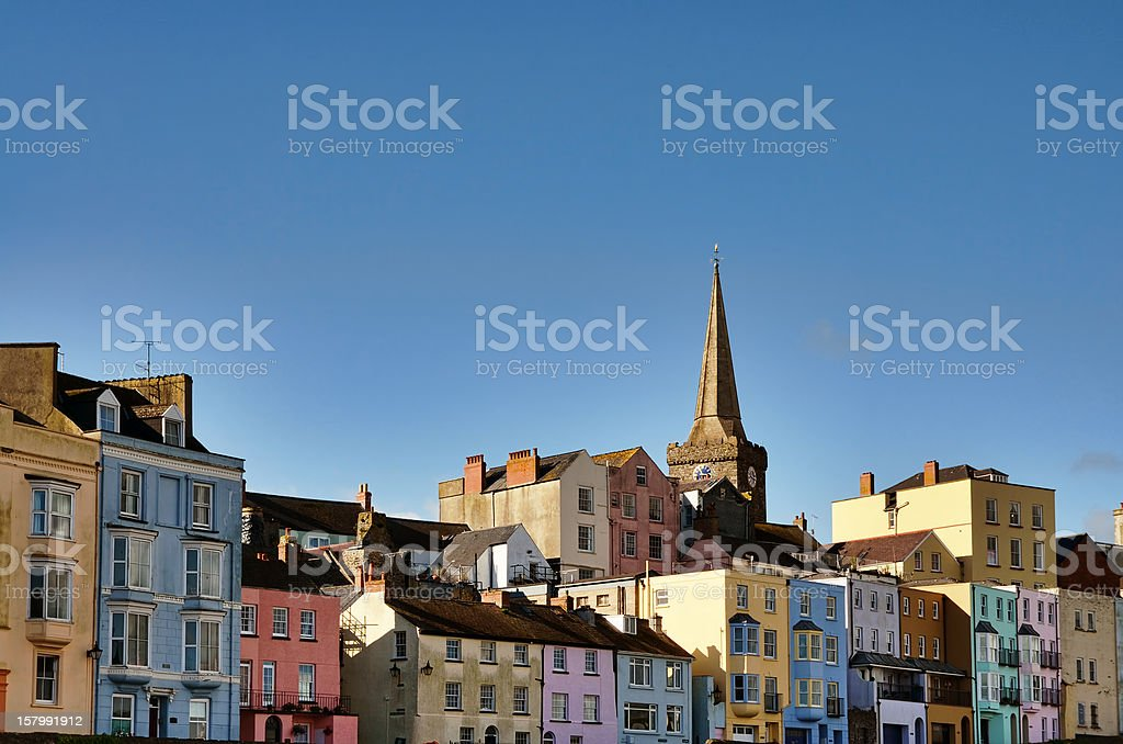 View of colourfully painted houses in Tenby. stock photo