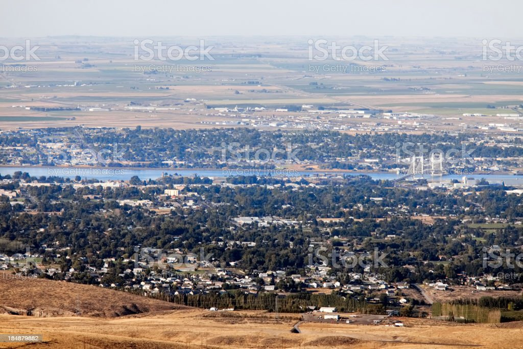 View of Columbia River, Pasco and Kennewick, Washington State. royalty-free stock photo
