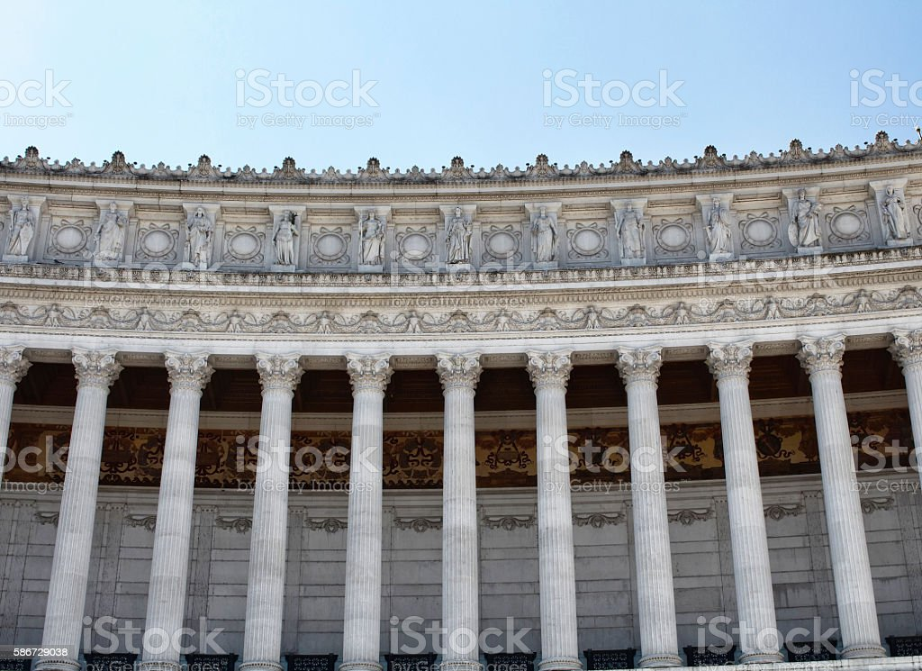 View of columns of Altar of the Fatherland stock photo