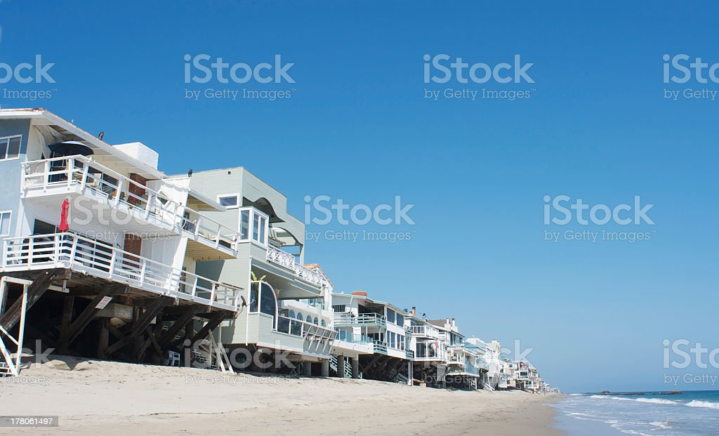 A view of condominiums with balconies on a Malibu beachfront stock photo