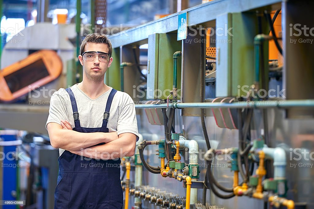 View of confident worker stock photo