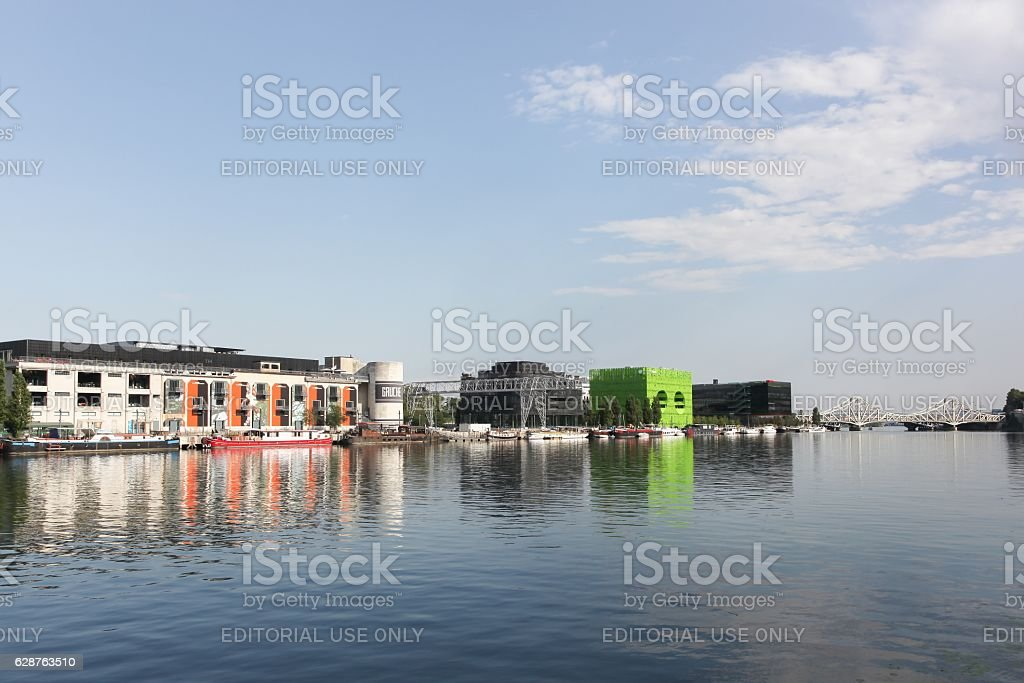 View of Confluence district in Lyon, France stock photo