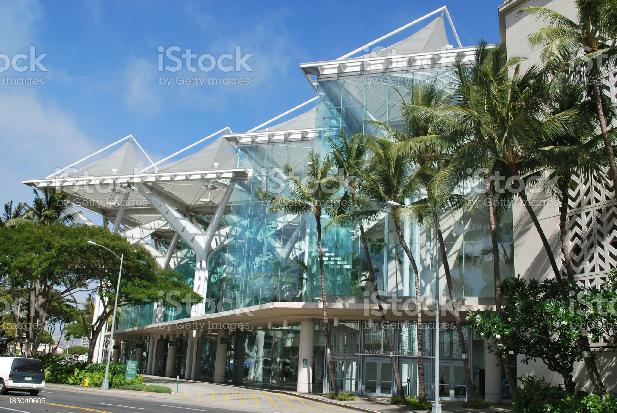 View of Convention Center in Honolulu, Hawaii royalty-free stock photo