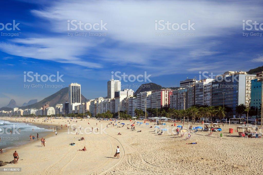 View of Copacabana beach in Rio de Janeiro stock photo