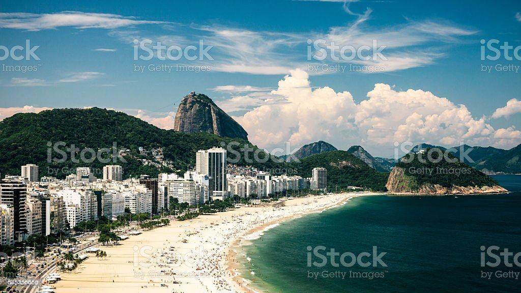 View of Copacabana beach, Rio de Janeiro, Brazil stock photo