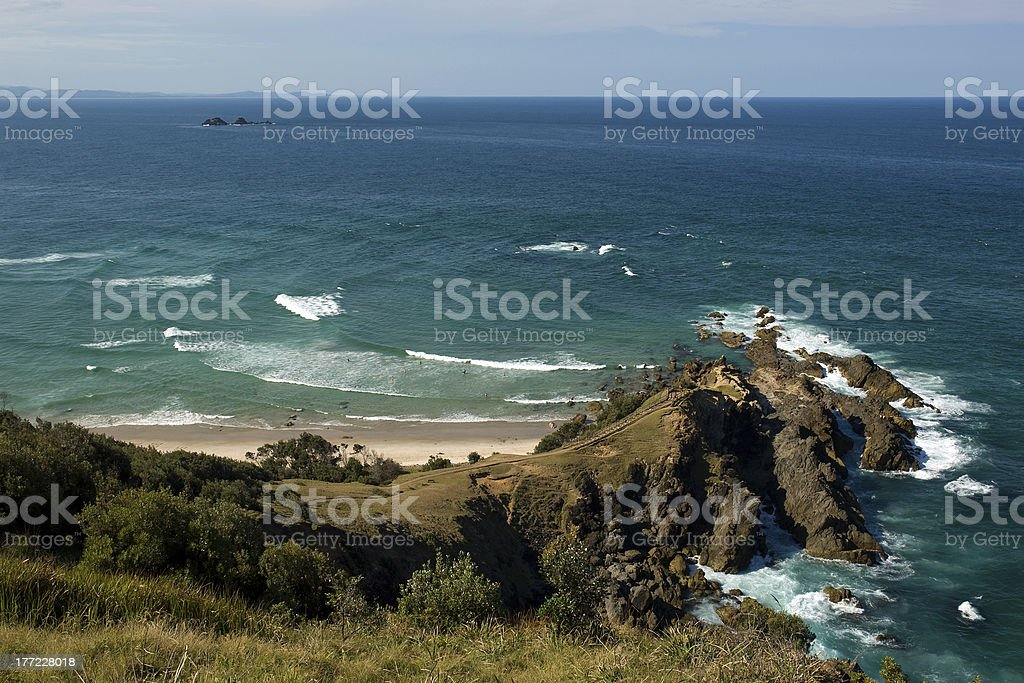 View of Coral Sea from Cape Byron State Conservation Park stock photo