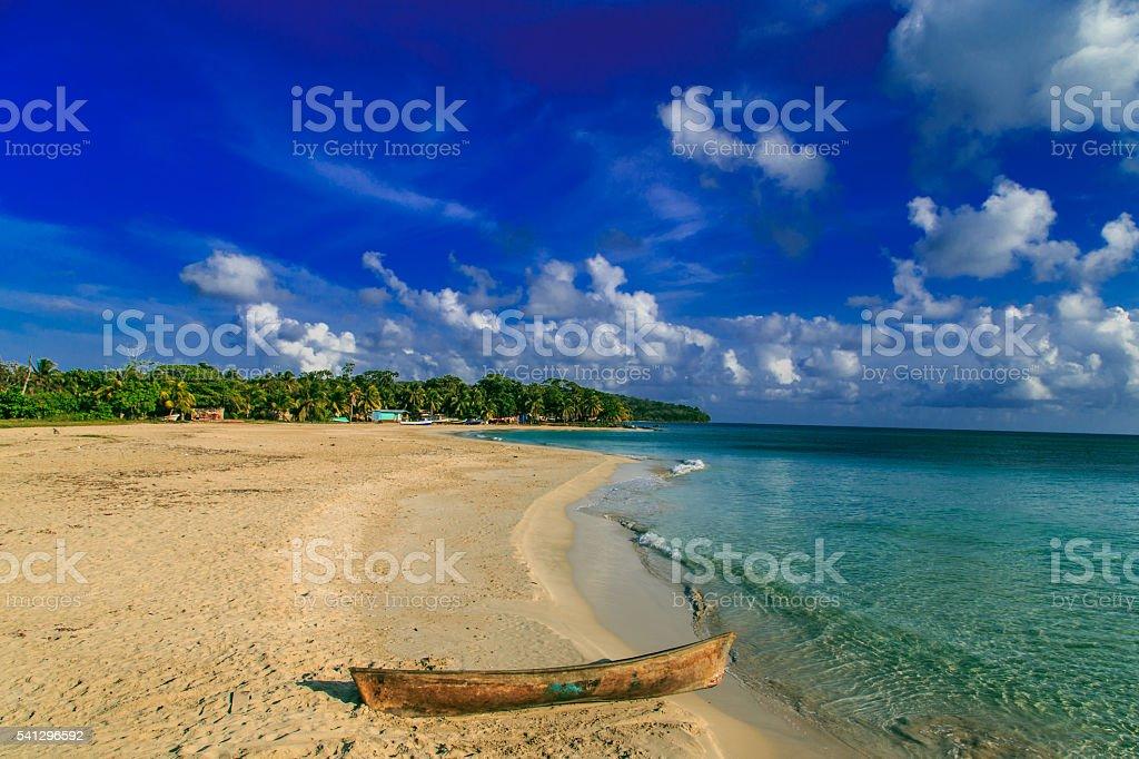 view of corn island Nicaragua. sea with blue sky stock photo