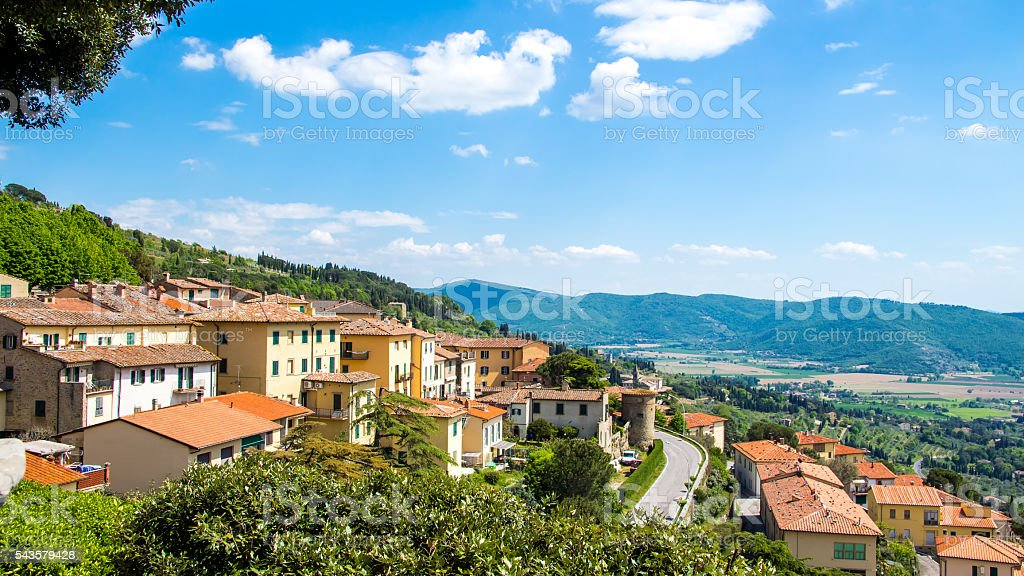 view of Cortona, medieval town in Tuscany, Italy stock photo