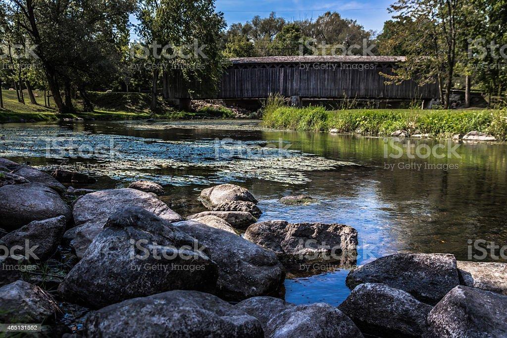 View of Covered Bridge in Cedarburg, Wisconsin stock photo