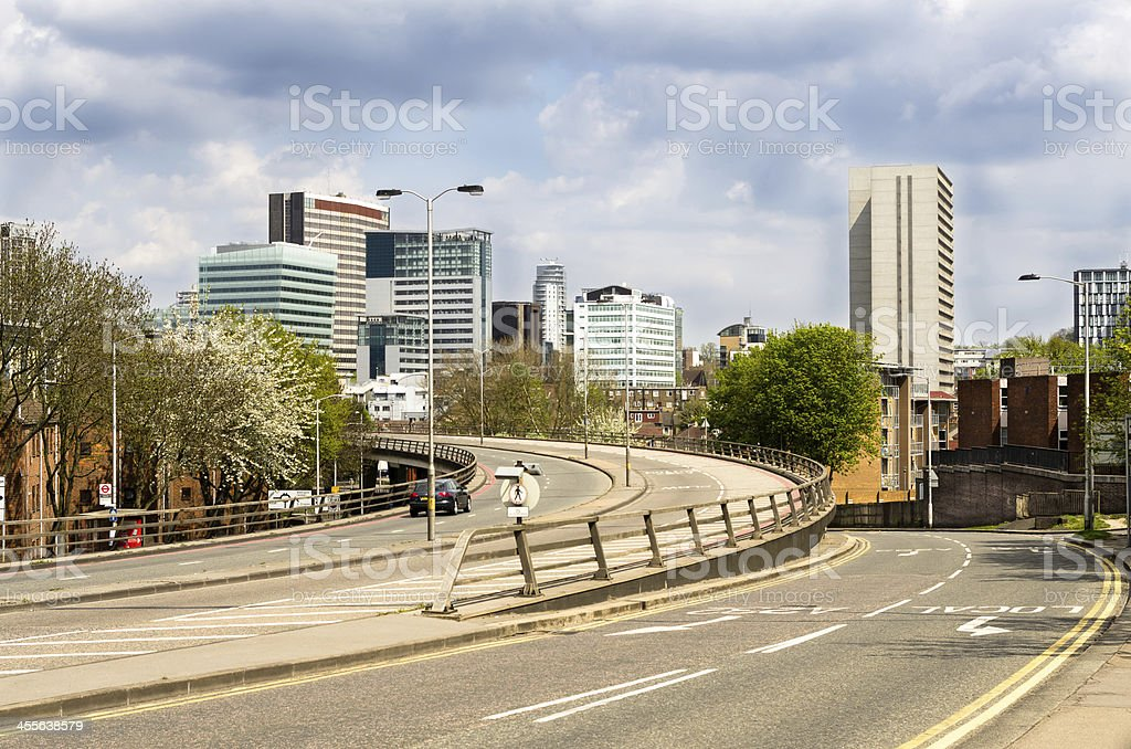 View of curved highways and skyscrapers in Croydon stock photo
