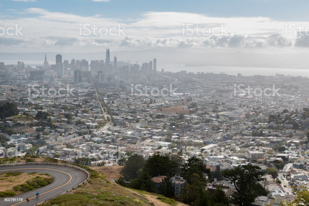 View of Cyclist with Downtown San Francisco in the Background stock photo