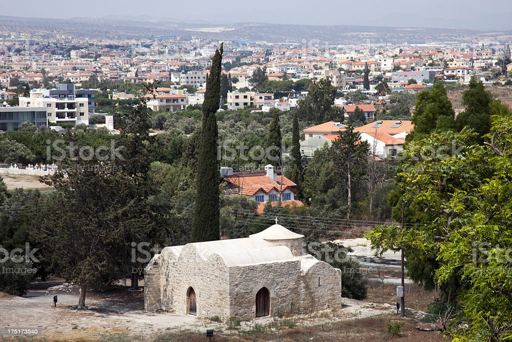 View of Cyprus city from height. stock photo