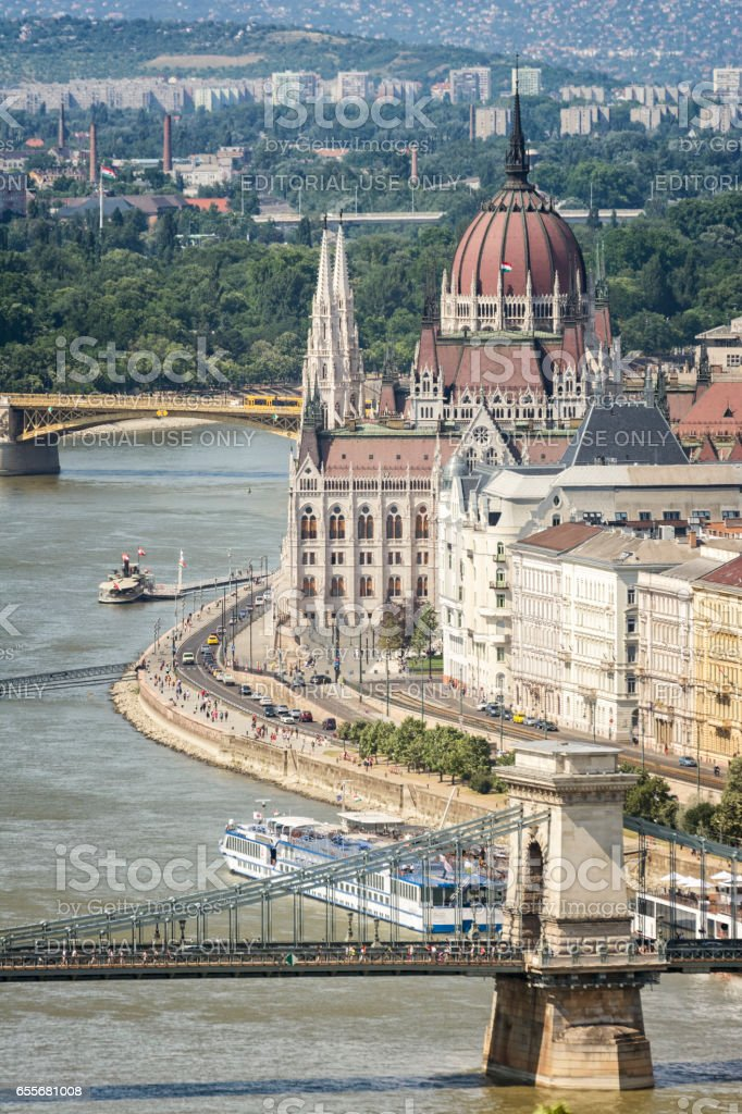 View Of Danube River and Hungarian Parliament Building, Budapest, Hungary stock photo