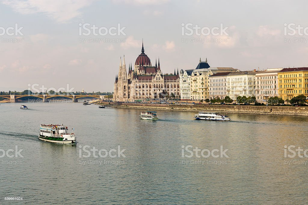View of Danube River embankment in Budapest, Hungary stock photo
