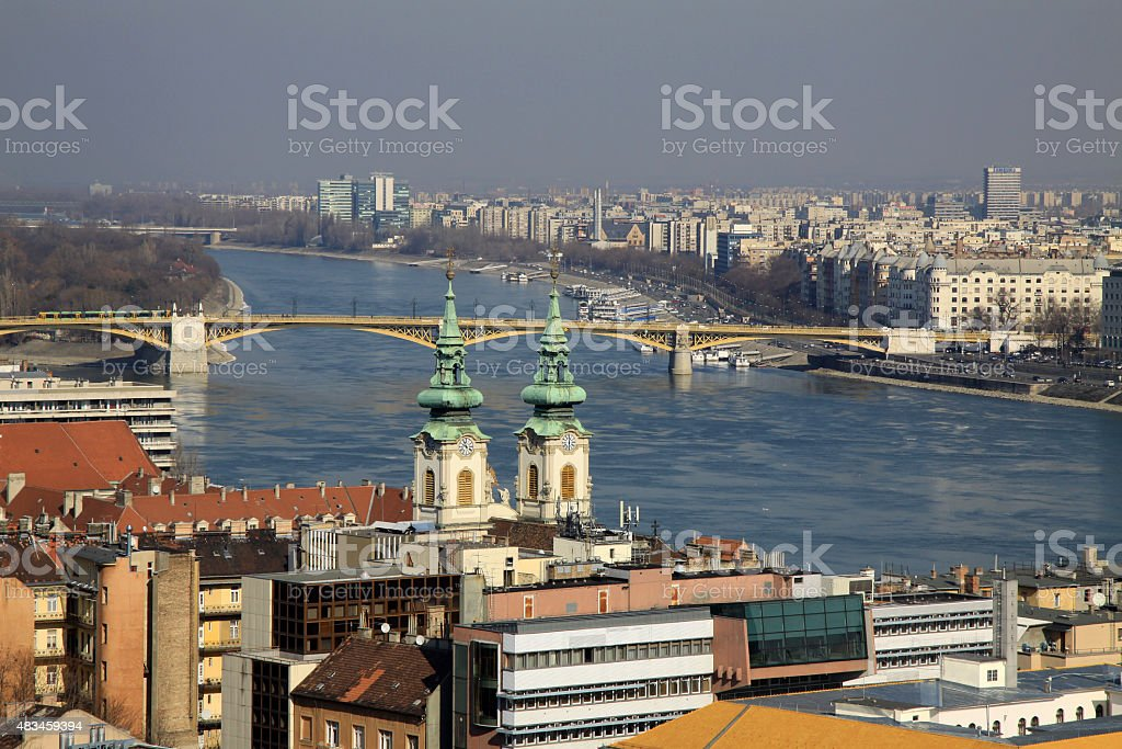 View of Danube River with Margaret Bridge, Budapest, Hungary stock photo