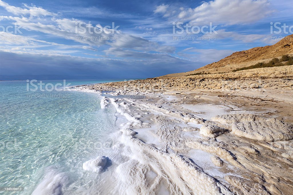 View of Dead Sea coastline stock photo