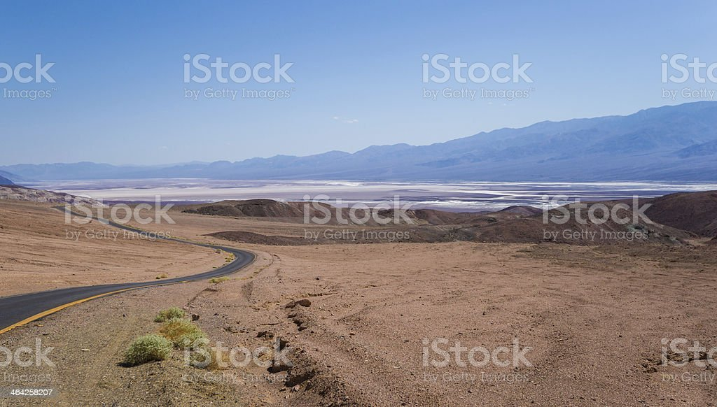 View of Death Valley toward Badwater Basin, California, USA stock photo