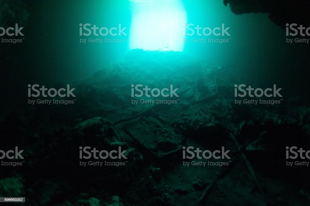view of debris that has collected inside cenotes entrance with blue light above stock photo