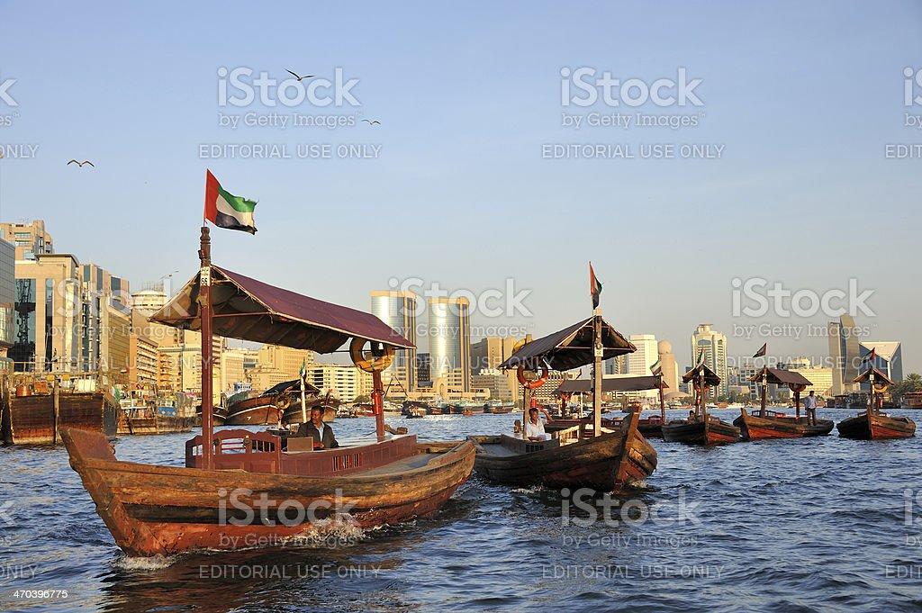 View of Deira quarter from Dubai creek stock photo