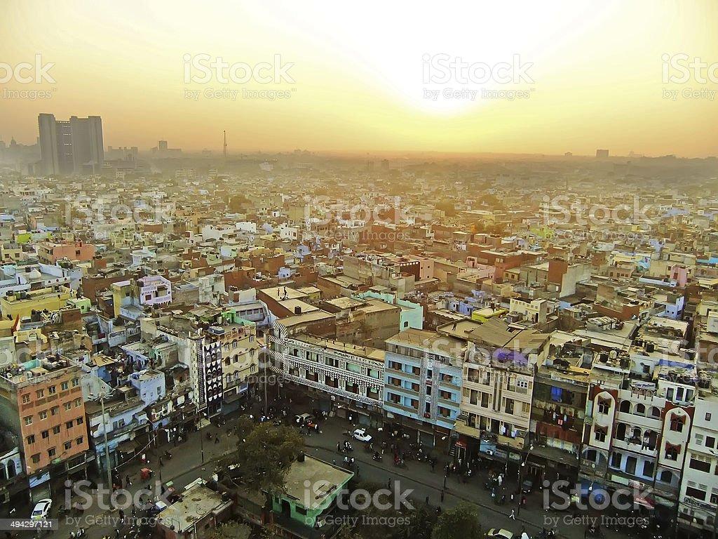 View of Delhi from Jama Masjid stock photo