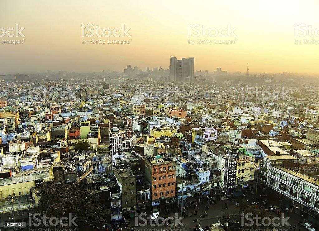 View of Delhi from Jama Masjid royalty-free stock photo