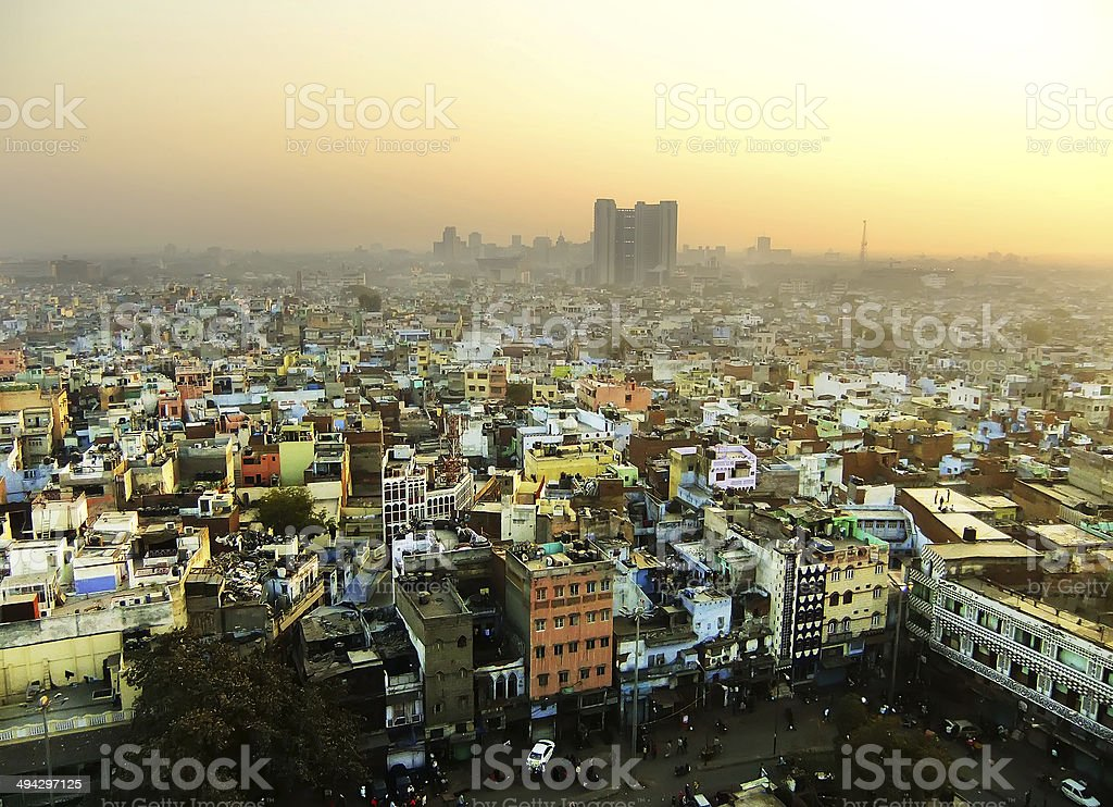 View of Delhi from Jama Masjid stock photo