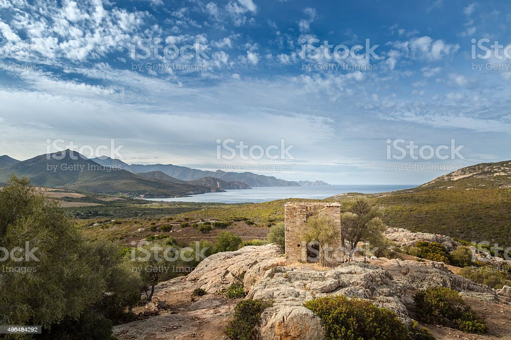 View of derelict building and coast near Galeria in Corsica stock photo