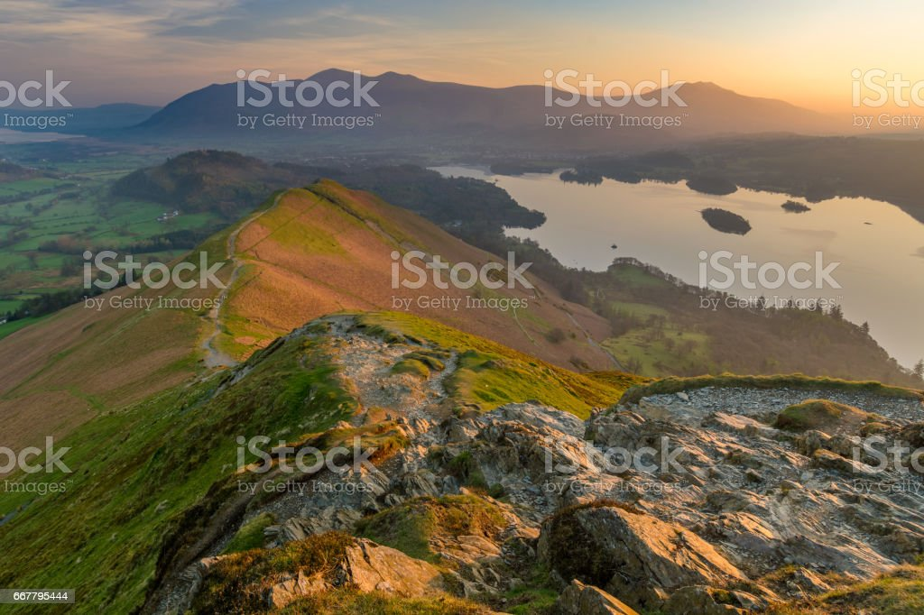 View of Derwentwater from Catbells at sunrise. stock photo