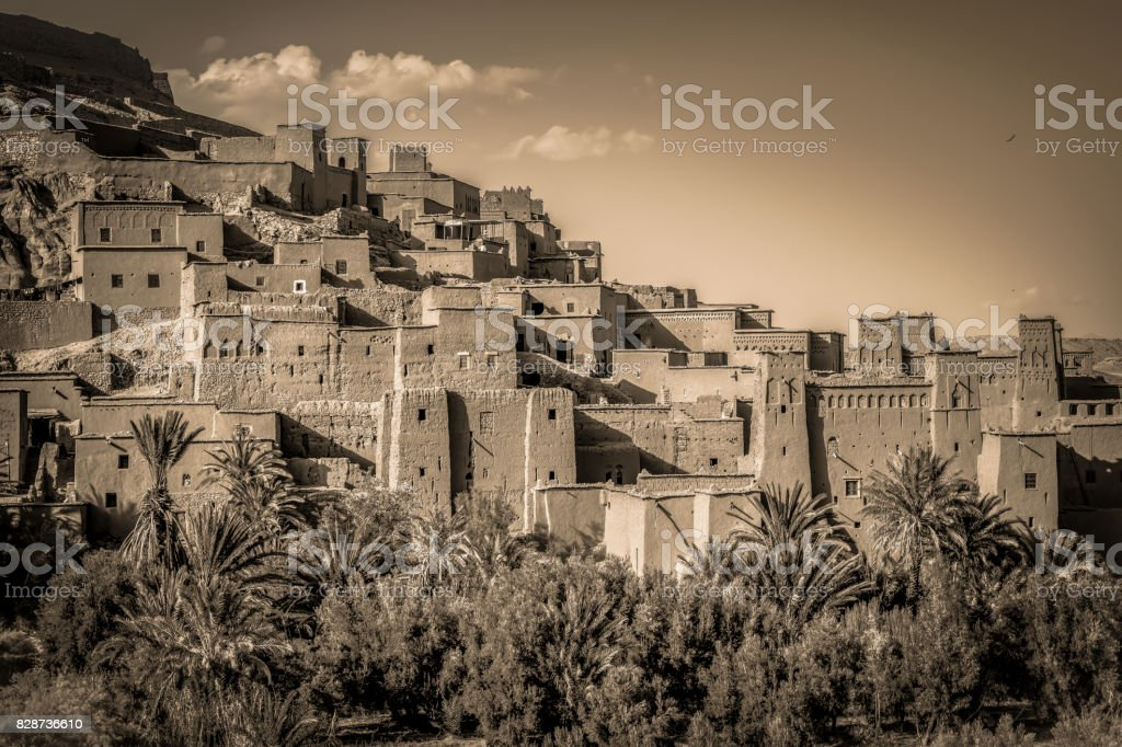 View of desert, Kasbah Ait Ben Haddou, Morocco stock photo