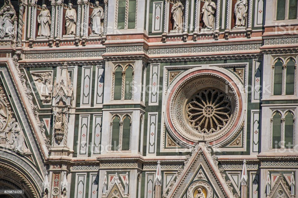 View of detail carved in marble from the facade of the Cathedral Santa Maria del Fiore in Florence stock photo