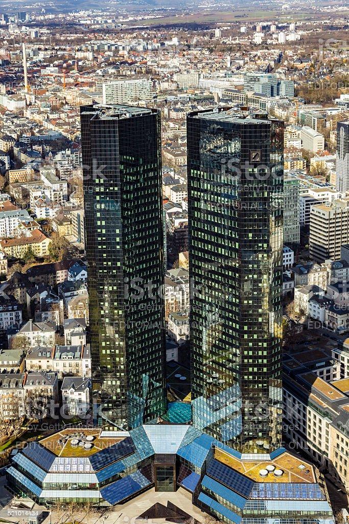 view of  Deutsche Bank Twin Towers stock photo