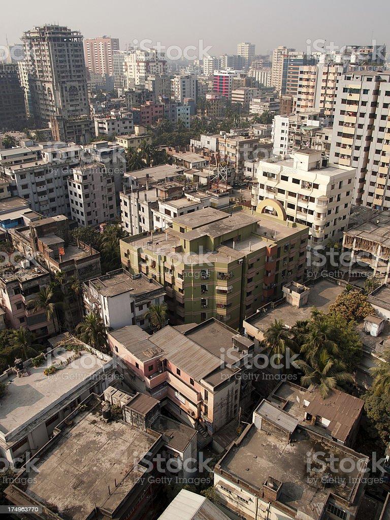 View of Dhaka city Bangladesh capital from above royalty-free stock photo