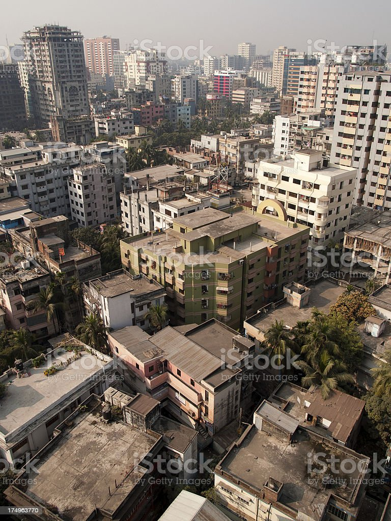 View of Dhaka city Bangladesh capital from above stock photo
