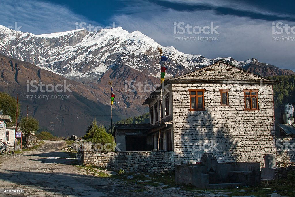 view of Dhaulagiri and the village of Kalapana stock photo