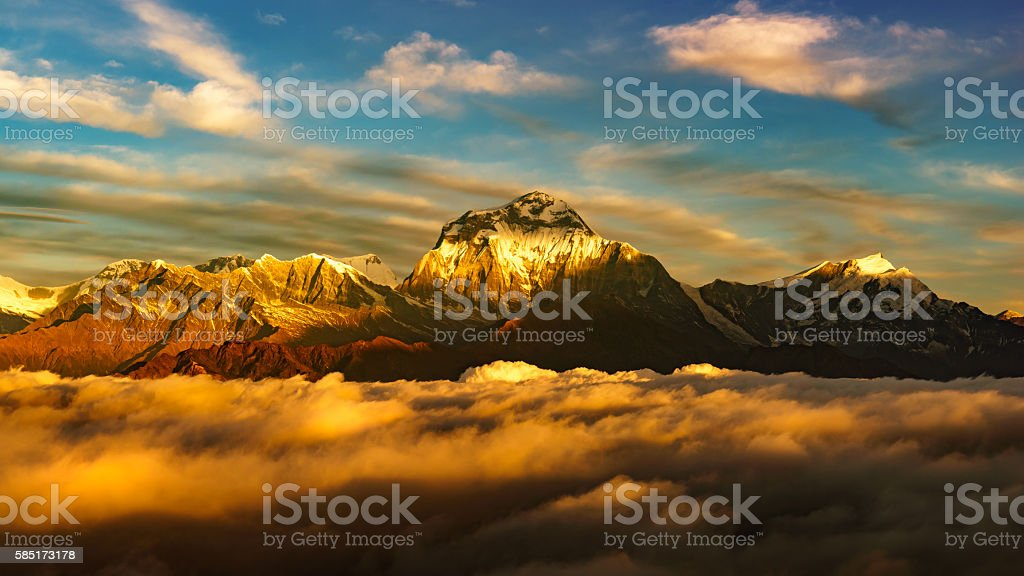 View of Dhaulagiri at Sunrise from Poonhill, Nepal stock photo