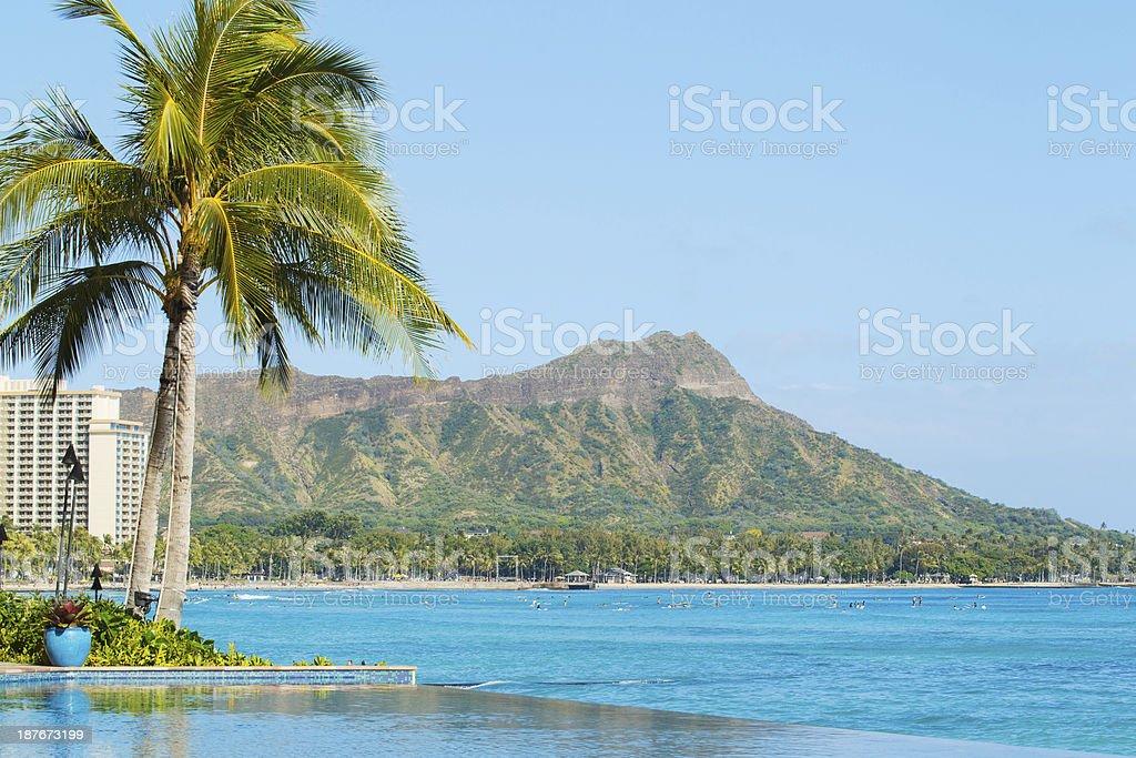 View of Diamond Head, Waikiki, stock photo