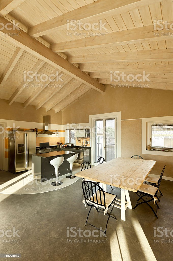 view of dining table and kitchen royalty-free stock photo