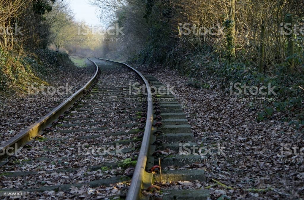 View of disused railway track. stock photo