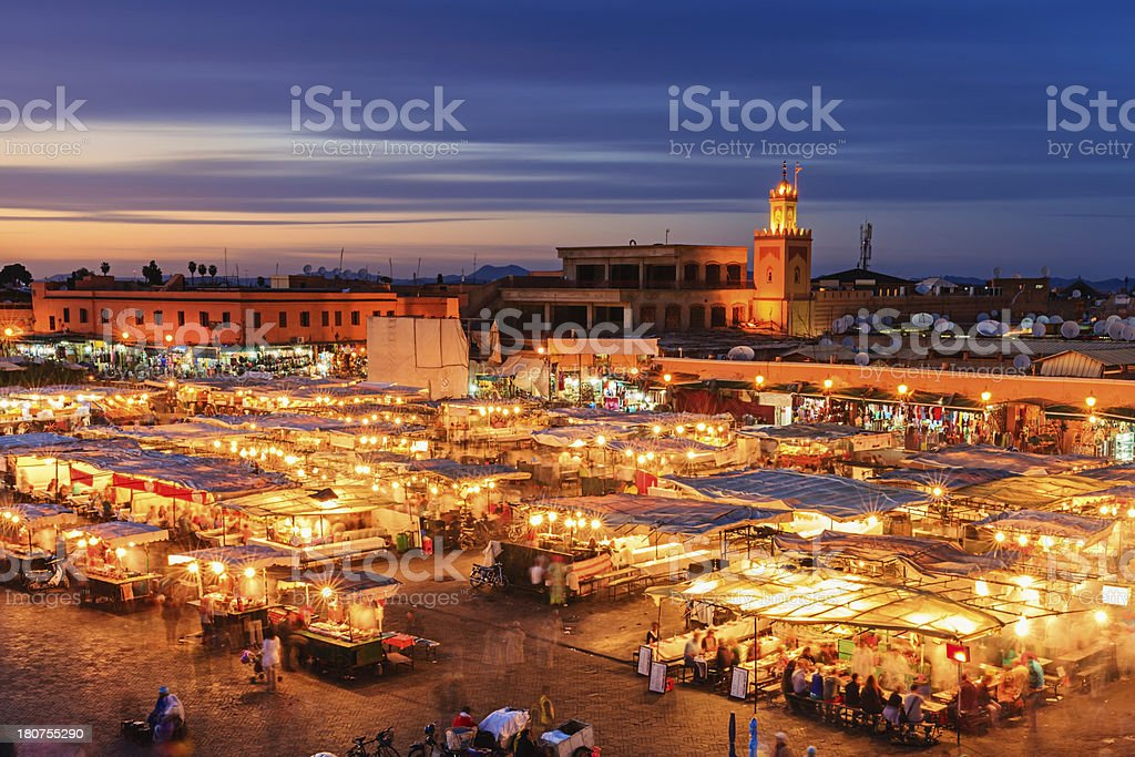 View of Djemaa el Fna square, Marrakech, Morocco stock photo