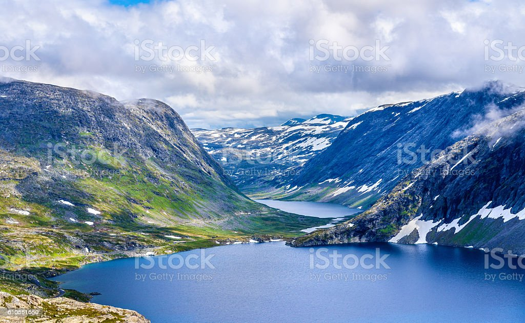 View of Djupvatnet lake from Dalsnibba mountain - Norway stock photo