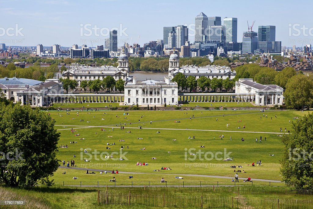 View of Docklands and Royal Naval College in London. royalty-free stock photo
