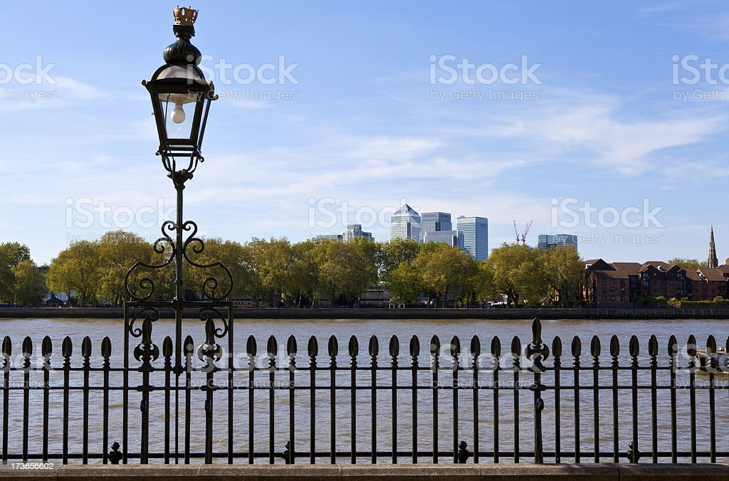 View of Docklands from Greenwich royalty-free stock photo