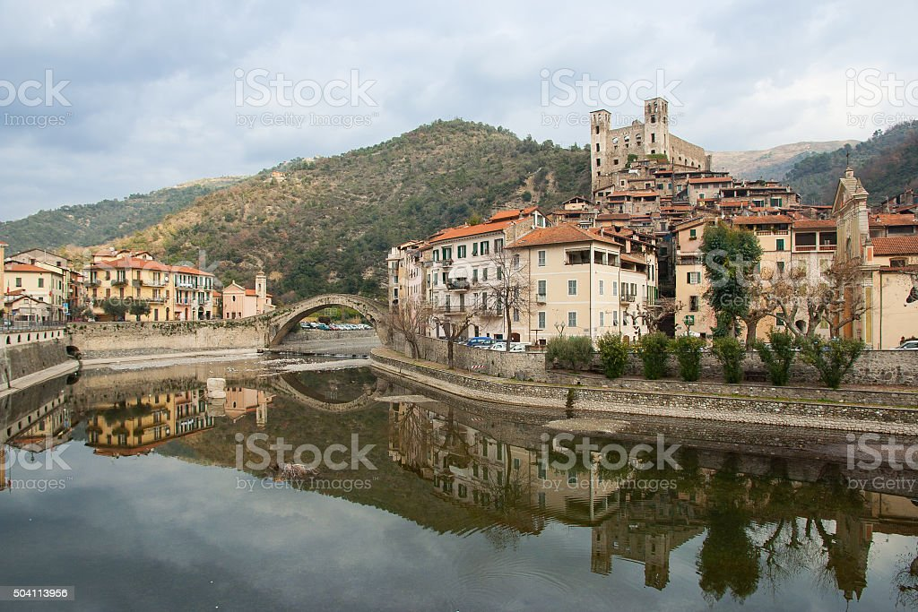 View of Dolceacqua medieval village on Nervia river stock photo